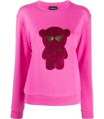 emporio armani sequined-logo sweatshirt - pink