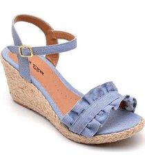 sandália anabela d&r shoes feminina