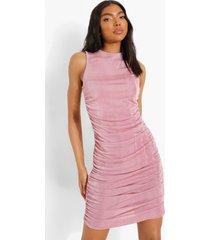 tall geplooide mini jurk, blush