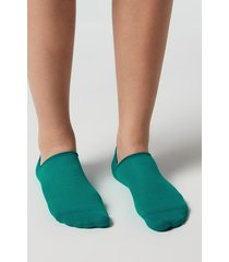 calzedonia unisex cotton no-show socks man green size 42-43