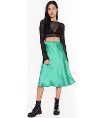 womens just my type satin midi skirt - jade