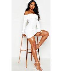 mini-jurk met boothals, dubbele laag en scuba ribgebreide strepen, wit