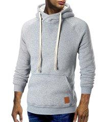 cowl neck kangaroo pocket plush drawstring hoodie