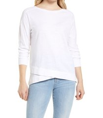 women's caslon cross hem tunic t-shirt, size small - white