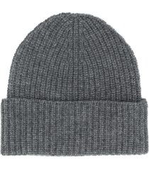 agnona ribbed knit cashmere beanie - grey