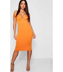 bodycon midi jurk met open schouders en hartvormige hals, tangerine