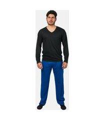 conjunto pijama masculino básico manga longa part.b preto e azul