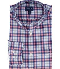 gant overhemd blauw rood geruit ragular fit
