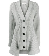 alexander mcqueen peplum rib-knit cardigan - grey