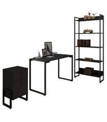 conjunto escritório 3 peças mesa 120cm estante 5 prateleiras e gaveteiro 2 gavetas new port f02 preto - mpozenato