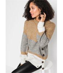 oversized trui met strepen en knoopjes