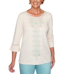 alfred dunner petite cottage charm embroidered top