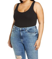 plus size women's good american the feel good ribbed sleeveless stretch cotton blend bodysuit, size 7 - black