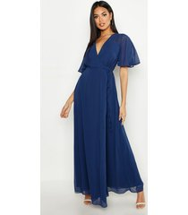 chiffon angel sleeve wrap maxi bridesmaid dress, navy