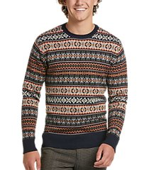 paisley & gray slim fit crewneck sweater fair isle multicolor