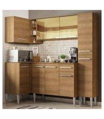 cozinha completa de canto madesa emilly river com balcão e armário vidro reflex rustic rustic