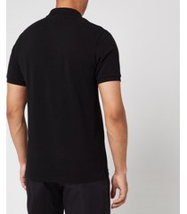 maison kitsuné men's tricolor fox patch polo shirt - black - xl