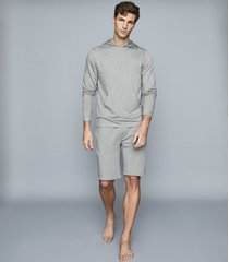 reiss hunt - jersey shorts in soft grey, mens, size xxl