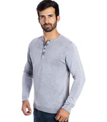 camiseta le tisserand basic button gelo stone