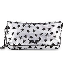 zadig & voltaire women's rock stars circus leather crossbody bag - silver
