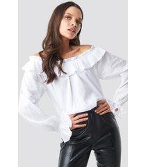na-kd boho off shoulder frill crop blouse - white
