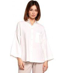 overhemd be b191 oversized shirt met kraag - wit