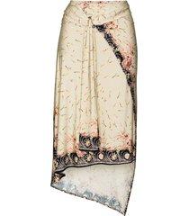 paco rabanne floral-print wraparound skirt - neutrals