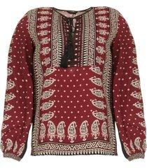 blouse met print catharina  bordeaux