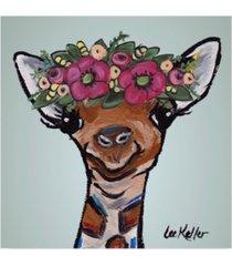 """hippie hound studios giraffe flower crown canvas art - 15"""" x 20"""""""