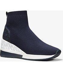 mk sock sneaker skyler in maglia stretch e logo bicolore - navy (blu) - michael kors
