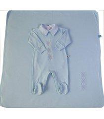 saãda maternidade macacã£o em suedine 3 peã§as azul - azul - menino - dafiti