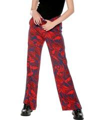 pantalón azul-rojo desigual