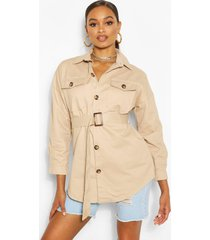 belted button utility jacket, stone