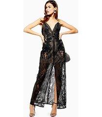 black embellished plunge sheer maxi dress - black