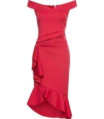 abito con spalle scoperte e volant (rosso) - bodyflirt boutique