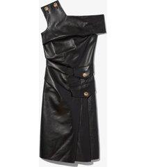 one shoulder leather dress