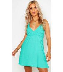 plus strappy skater sun dress, green