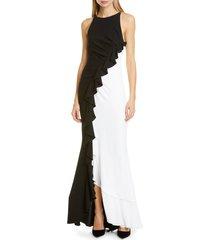 women's talbot runhof ruffle bi-color gown, size 14 - black