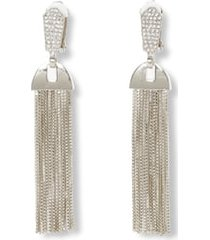 women's vince camuto pave & chain tassel clip-on drop earrings