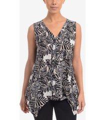 ny collection printed handkerchief-hem blouse