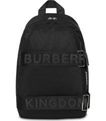 burberry large logo strap backpack - black