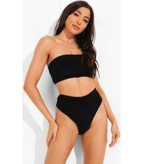 badstoffen mix & match bikini broekje met hoge taille, black