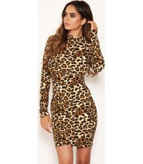 ax paris women's leopard print high neck bodycon mini dress