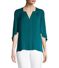 elie tahari women's olympia silk blouse - amalfi - size xs