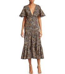 animal jewel short sleeve midi dress