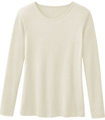 biologisch katoenen shirt met ronde hals en lange mouwen, naturel 40