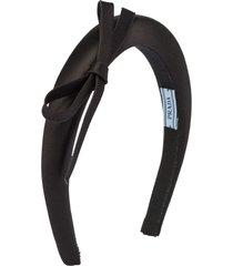 prada bow detail headband - black