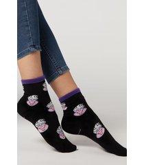 calzedonia disney pattern cotton ankle socks woman black size tu