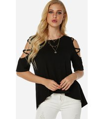black cold shoulder criss-cross design sleeves t-shirt