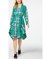 charter club long-sleeve handkerchief dress, created for macy's